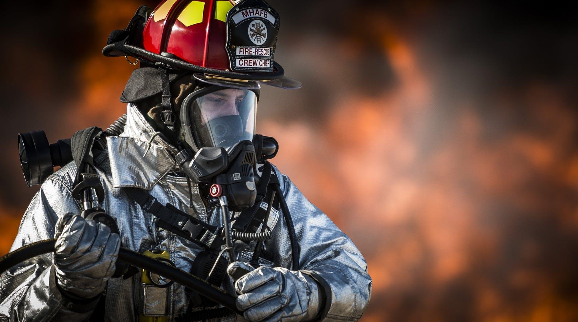 fire portrait helmet firefighter